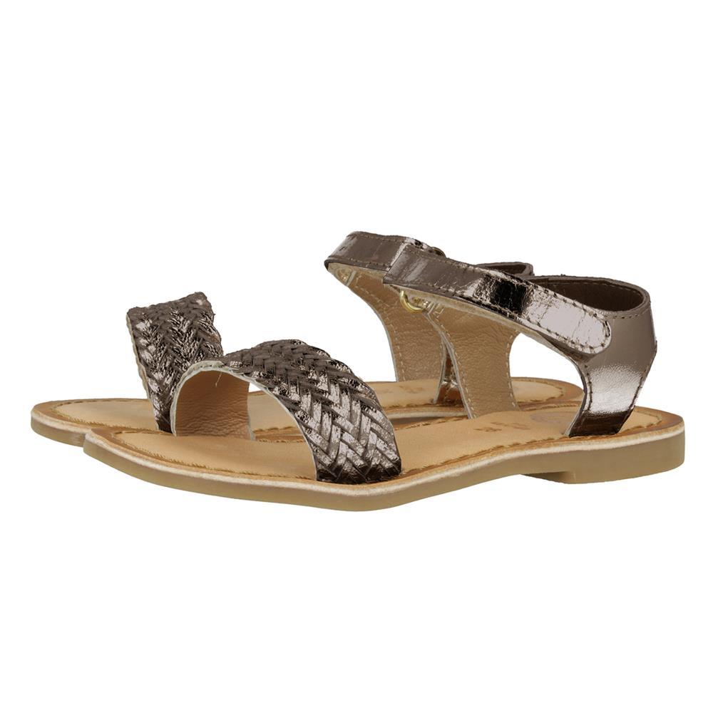 Sandalia con Velcro en Piel Plomo