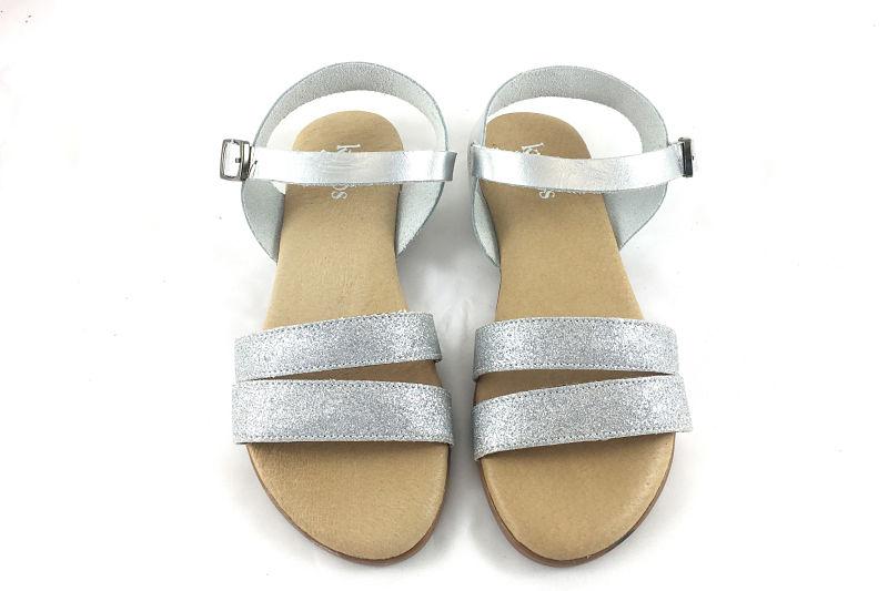imagen 2 de Sandalia con Doble Tira en Glitter Plateado