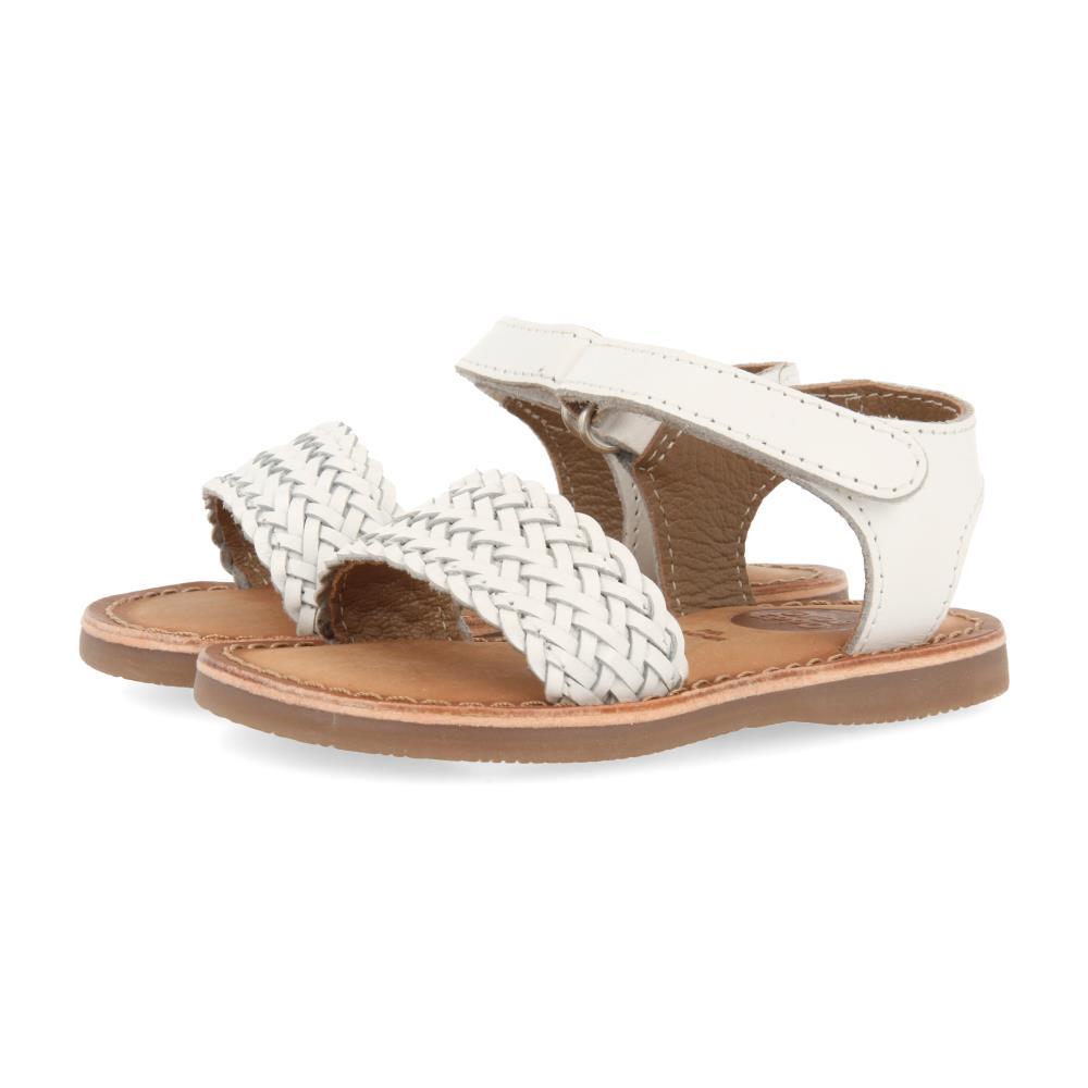 Sandalia Trenzada Blanco con Velcro
