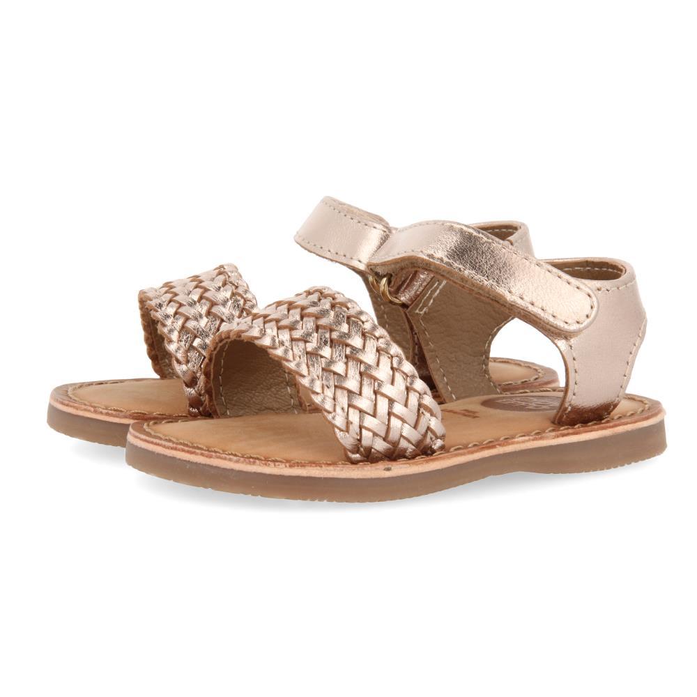 Sandalia Trenzada Cobre con Velcro
