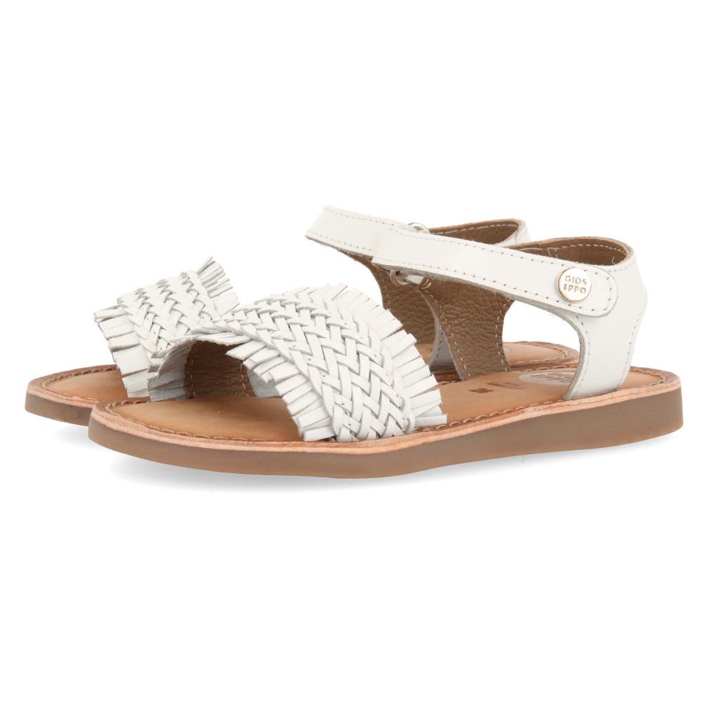 Sandalia Trenzada con velcro Blanco
